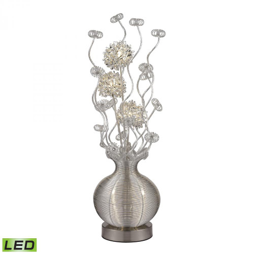 Lamps By Dimond Lazelle Contemporary Floral Display Floor Lamp In Silver D2717