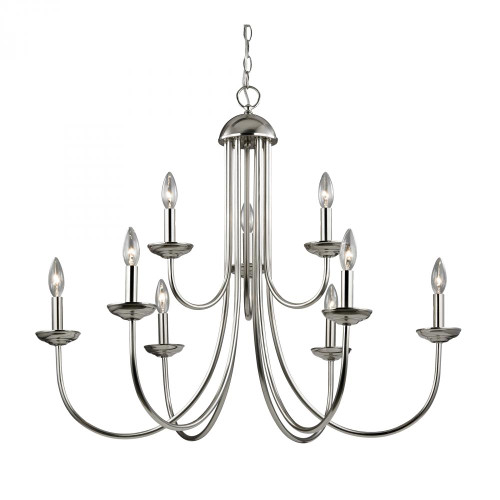 Chandeliers By Elk Cornerstone Williamsport 9 Light Chandelier In Brushed Nickel 1529CH/20
