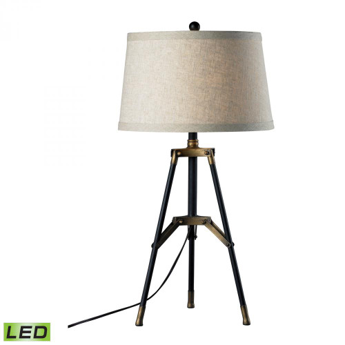 Lamps By Dimond Functional Tripod LED Table Lamp in Restoration Black and Aged Gold D309-LED