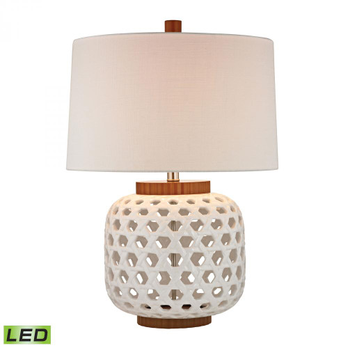 Lamps By Dimond Woven Ceramic LED Table Lamp in White And Wood Tone D346-LED