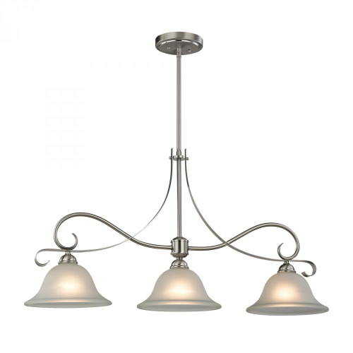 Chandeliers/Mini Chandeliers By Elk Cornerstone Brighton 3 Light Island In Brushed Nickel 1003IS/20