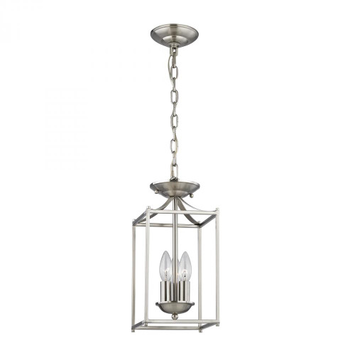 Chandeliers/Pendant Lights By Elk Cornerstone Foyer Collection 3 Light Pendant In Brushed Nick 7x14.75 7713FY/20