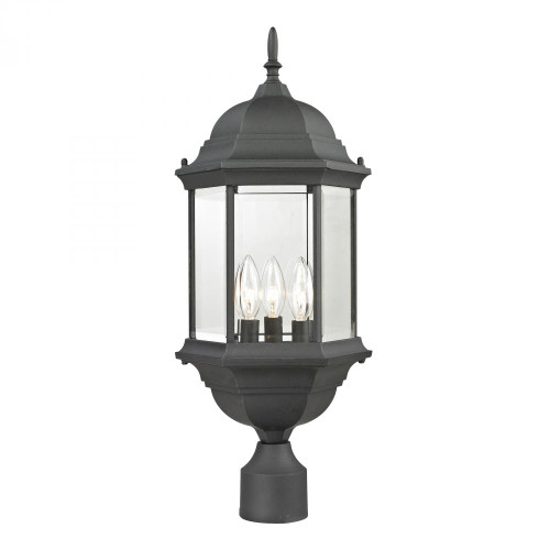 Outdoor Lights By Elk Cornerstone Spring Lake 3 Light Exterior Post Lantern In Matte Black 8603EP/65