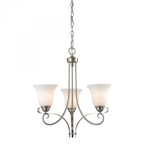 Chandeliers/Linear Suspension By Elk Cornerstone Brighton 3 Light Chandelier In Brushed Nickel 1003CH/20