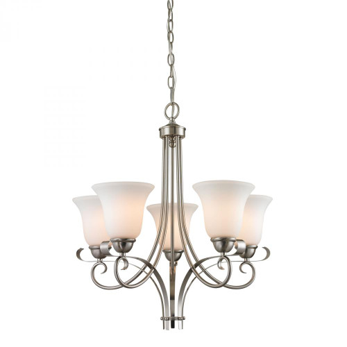 Chandeliers By Elk Cornerstone Brighton 5 Light Chandelier In Brushed Nickel 1005CH/20