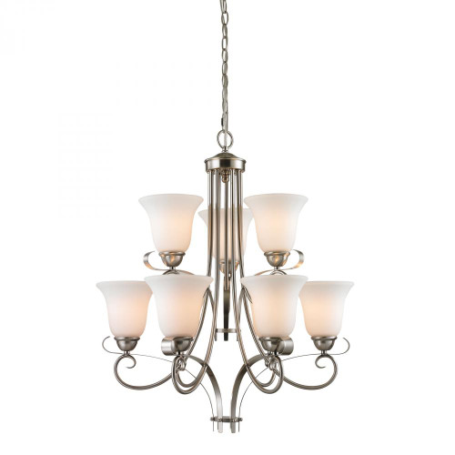 Chandeliers By Elk Cornerstone Brighton 9 Light Chandelier In Brushed Nickel 1009CH/20