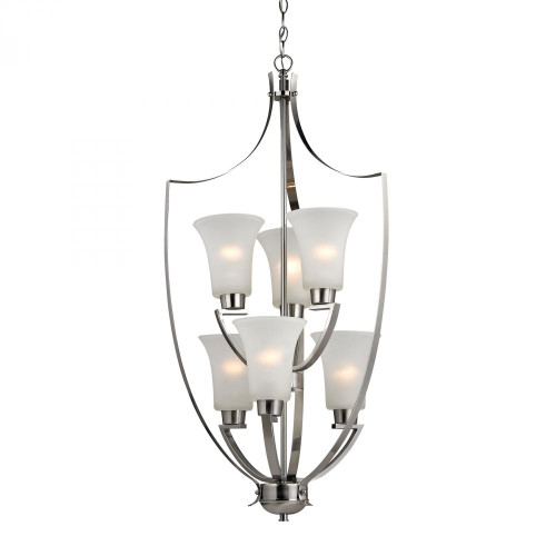 Chandeliers By Elk Cornerstone Foyer Collection 6 Light Chandelier In Brushed Nickel 7706FY/20