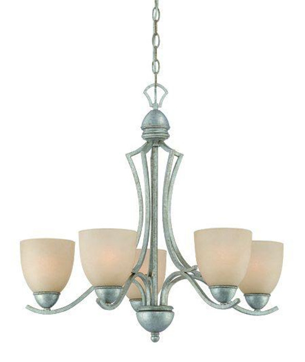 Chandeliers By Thomas Five-light chandelier in Moonlight Silver finish with tea stained glass. SL808272