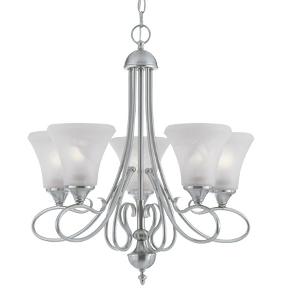 Chandeliers By Thomas Five-light chandelier in Brushed Nickel Finish with swirl alabaster style glass shades. SL811578