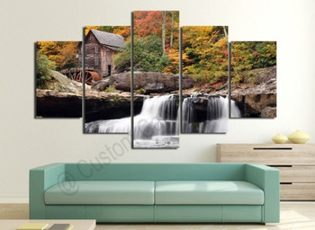 Waterfall Landscape Photo Scenery on Modern Contemporary Art