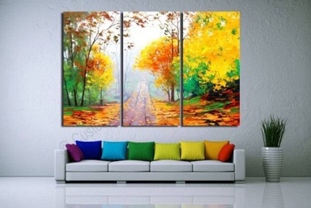 Landscape Yellow Canvas Wall Art Oil Painting