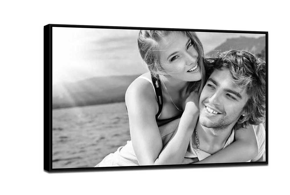 black and white floating frame canvas print