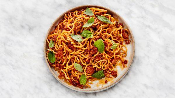 Recipe: Spicy-Sweet Sambal Pork Noodles