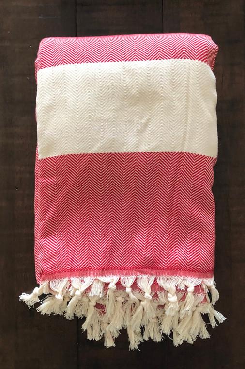 Red Zig Zag XL Turkish Blanket