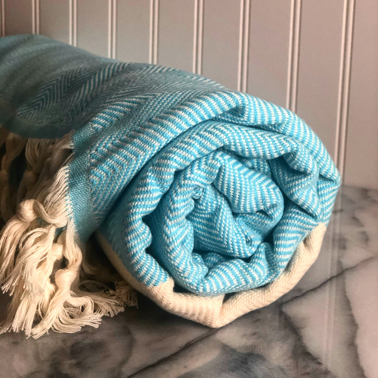 Aqua Zig Zag XL Turkish Blanket