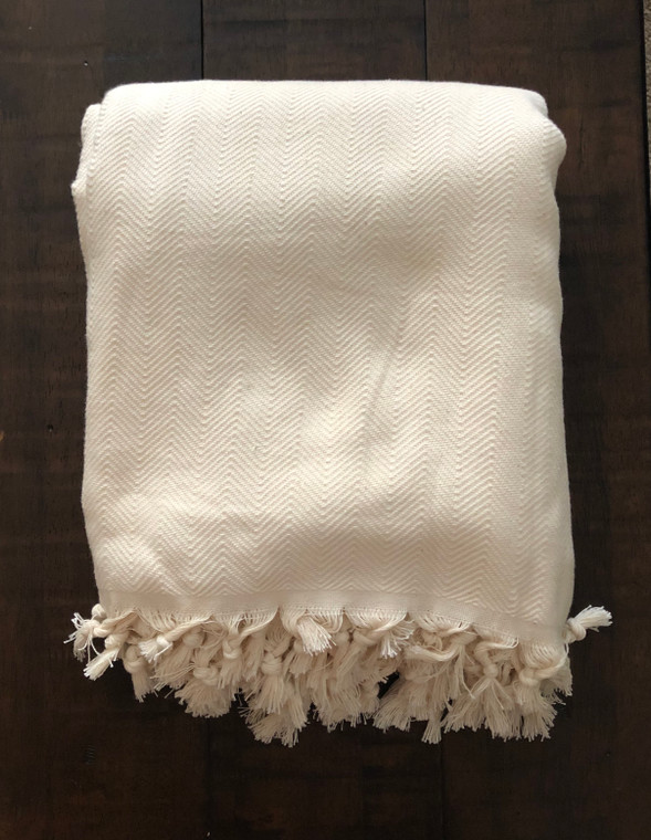 Cream Herringbone XL Turkish Blanket