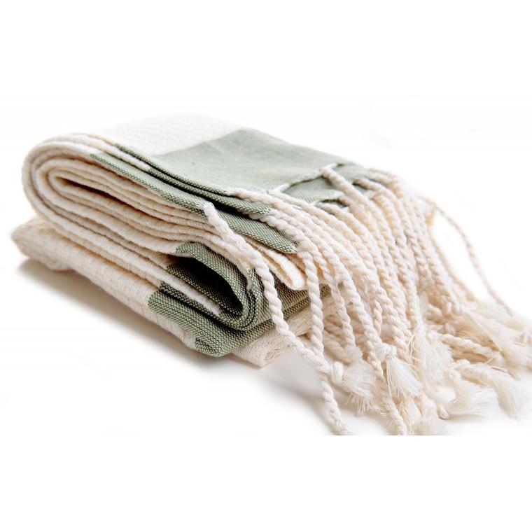Ecru + Olive Hand Towel