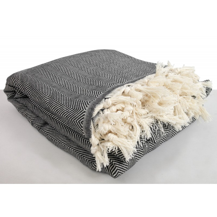 Black Herringbone XL Turkish Blanket