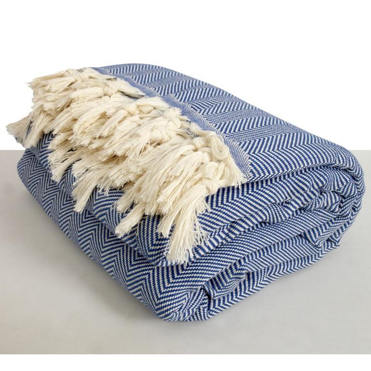 Blue Herringbone XL Turkish Blanket