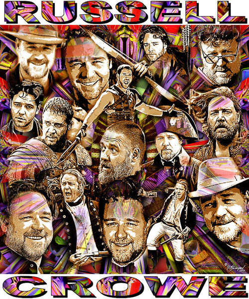Russell Crowe Tribute T-Shirt or Poster Print by Ed Seeman