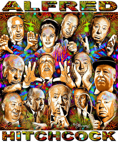 Alfred Hitchcock Tribute T-Shirt or Poster Print by Ed Seeman