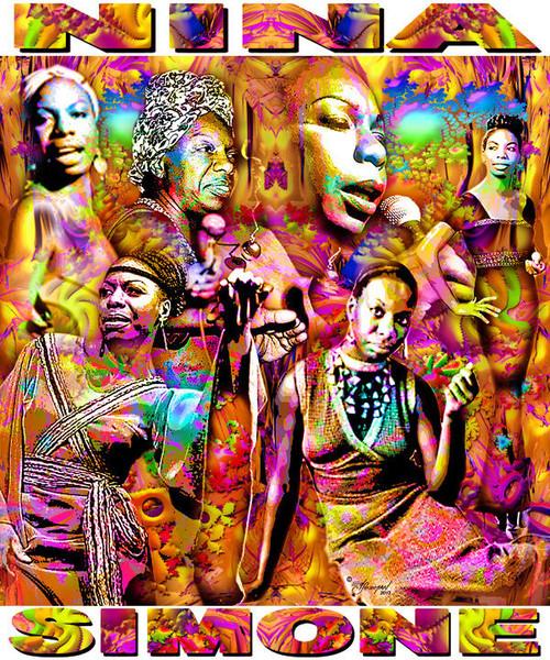 Nina Simone Tribute T-Shirt or Poster Print by Ed Seeman