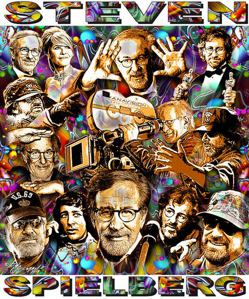Steven Spielberg Tribute T-Shirt or Poster Print by Ed Seeman