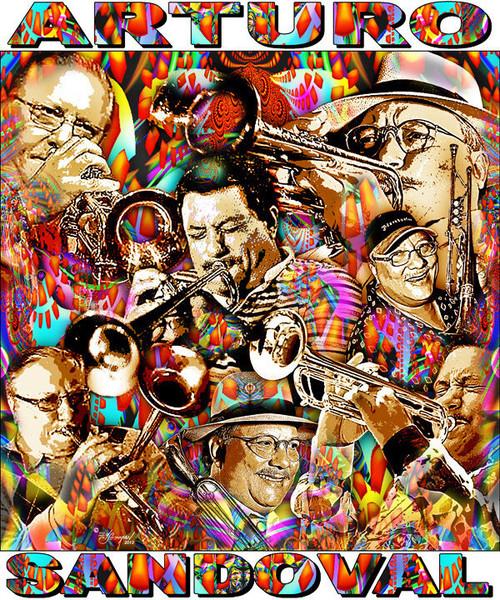 Arturo Sandoval Tribute T-Shirt or Poster Print by Ed Seeman