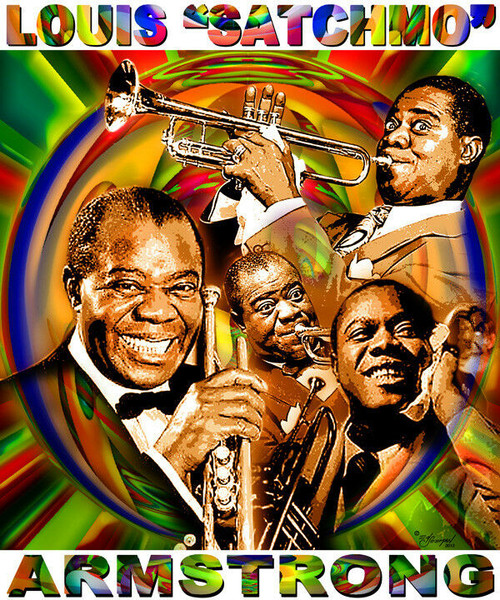 Louis Armstrong Tribute T-Shirt or Poster Print by Ed Seeman