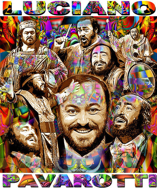 Luciano Pavarotti Tribute T-Shirt or Poster Print by Ed Seeman