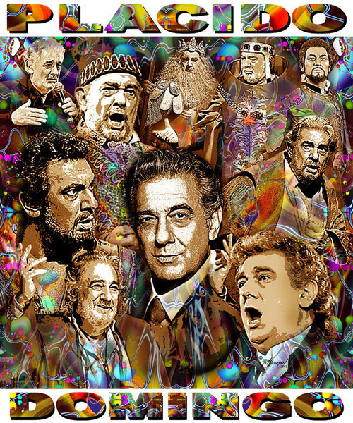 Placido Domingo Tribute T-Shirt or Poster Print by Ed Seeman