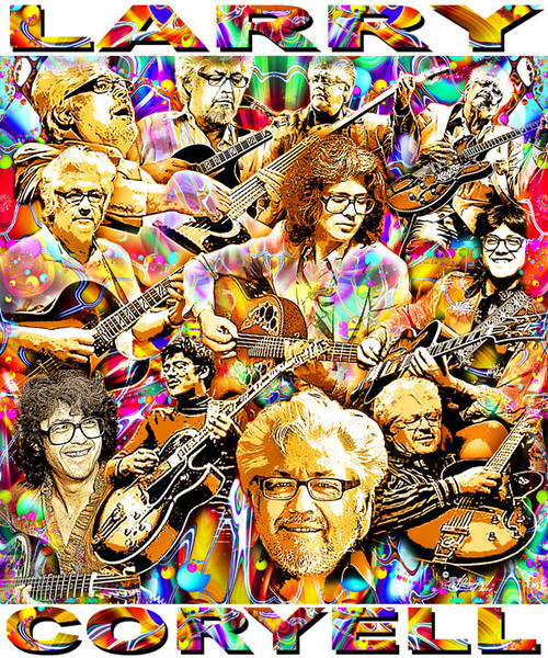 Larry Coryell Tribute T-Shirt or Poster Print by Ed Seeman