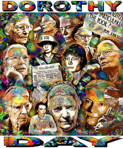 Dorothy Day Tribute T-Shirt or Poster Print by Ed Seeman