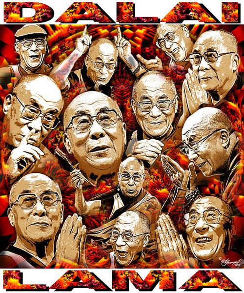 Dalai Lama Tribute T-Shirt or Poster Print by Ed Seeman