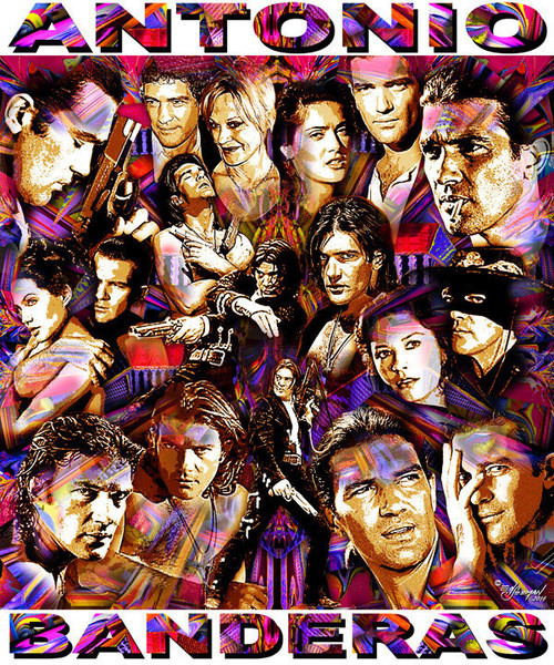 Antonio Banderas Tribute T-Shirt or Poster Print by Ed Seeman