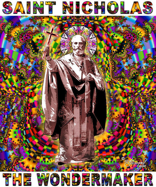 Saint Nicholas The Wonderworker Tribute T-Shirt or Poster Print by Ed Seeman