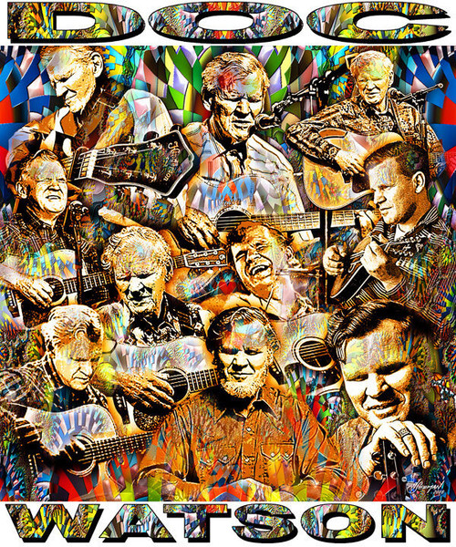 Doc Watson Tribute T-Shirt or Poster Print by Ed Seeman