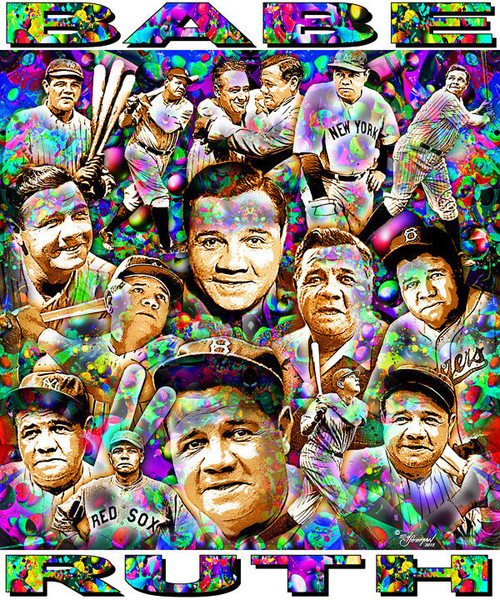 Babe Ruth Tribute T-Shirt or Poster Print by Ed Seeman