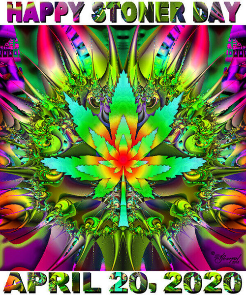 Marijuana Happy Stoner Day T-Shirt or Poster Print by Ed Seeman