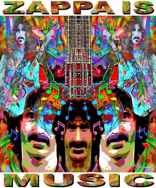 Zappa Is Music Tribute T-Shirt or Poster Print by Ed Seeman