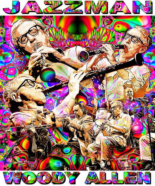 Jazzman Woody Allen Tribute T-Shirt or Poster Print by Ed Seeman