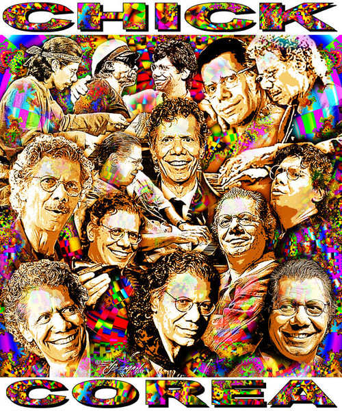 Chick Corea Tribute T-Shirt or Poster Print by Ed Seeman