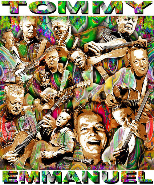 Tommy Emmanuel Tribute T-Shirt or Poster Print by Ed Seeman