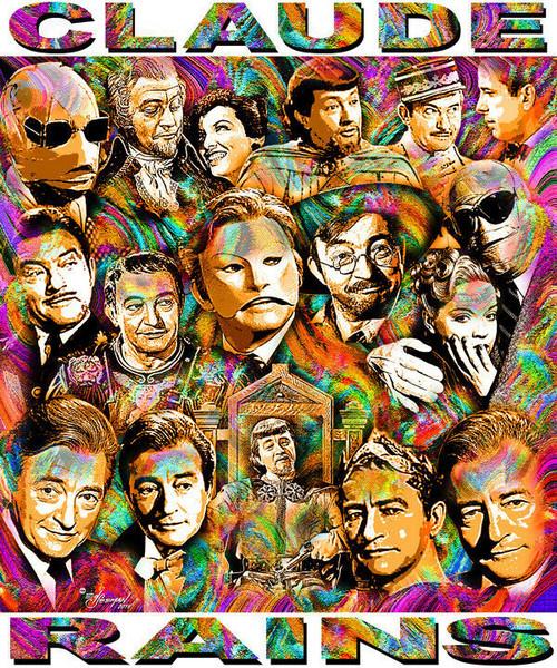 Claude Rains Tribute T-Shirt or Poster Print by Ed Seeman