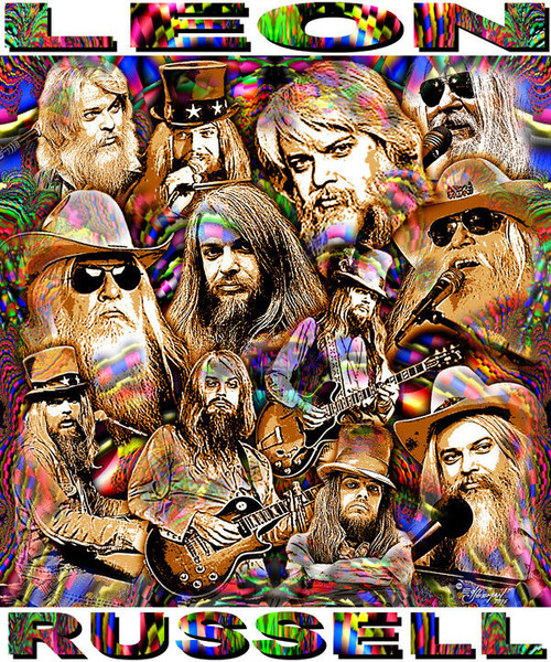Leon Russell Tribute T-Shirt or Poster Print by Ed Seeman