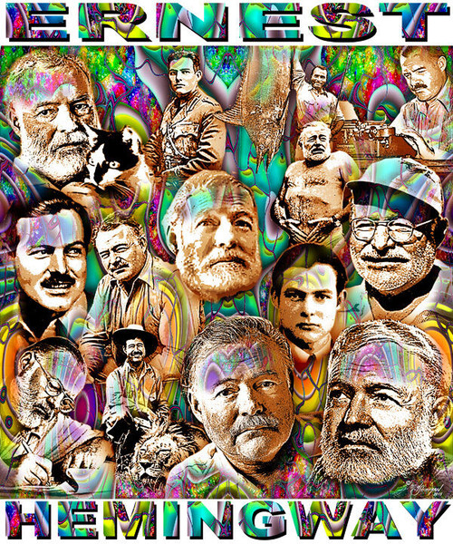 Ernest Hemingway Tribute T-Shirt or Poster Print by Ed Seeman