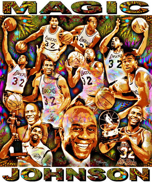 Magic Johnson Tribute T-Shirt or Poster Print by Ed Seeman