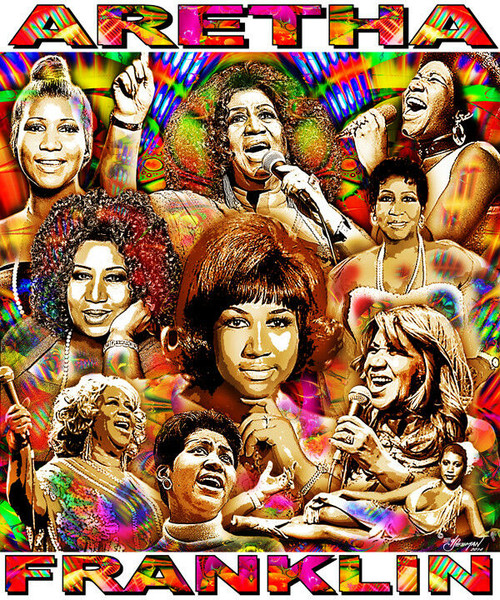 Aretha Franklin Tribute T-Shirt or Poster Print by Ed Seeman