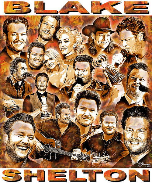 Blake Shelton Tribute T-Shirt or Poster Print by Ed Seeman