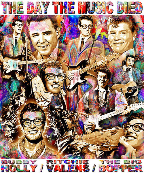 The Day The Music Died Tribute T-Shirt or Poster Print by Ed Seeman